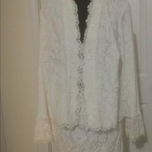 Tadashi shoji Two piece Lace jacket and skirt